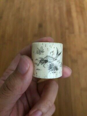 Antique Old Chinese Bone Thumb Ring with Hand Painted