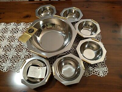 Inoxbeck 18/10 Bright Stainless & Gold Plate Set macedonia 6 coppette