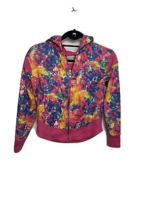 CONVERSE Girls Hoodie Sweatshirt Age 12-13 Years Pink Multicolour Rainbow mix