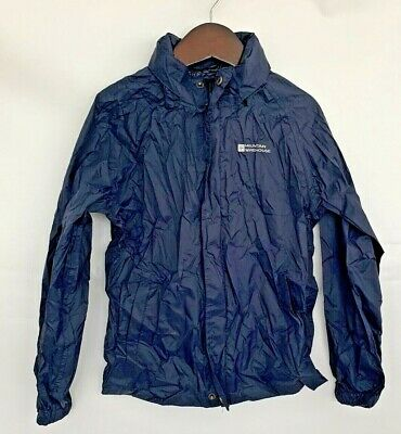 Mountain Warehouse Kids Waterpoof Jacket Age 7-8 Navy Hooded Breathable NEW