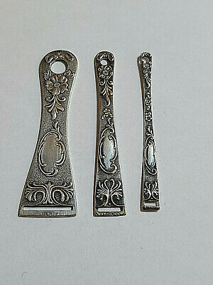Set of 3 Antique Sterling Silver Fancy Ribbon Threaders / Bodkins Sewing Tools