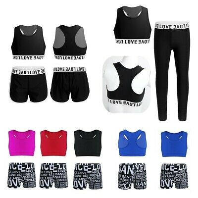 Toddlers Girls Athletic Sleeveless Outfits Sport Gym Crop Top+Short Bottoms Sets