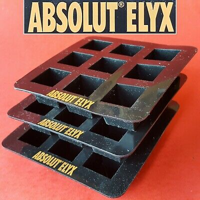 2 PR Absolut Elyx Luxury Handcrafted Vodka Black Silicone/Rubber Ice Cube Trays