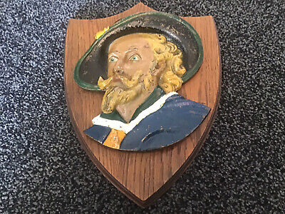 """Vintage Painted Cast Iron Head Of A  Cavalier On Wooden Plaque 11"""" X 8.25"""""""
