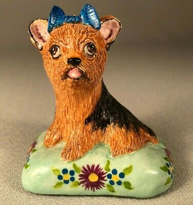 Basil Matthews (England) Hand Made Yorkshire Terrier Dog Figurine, Seated