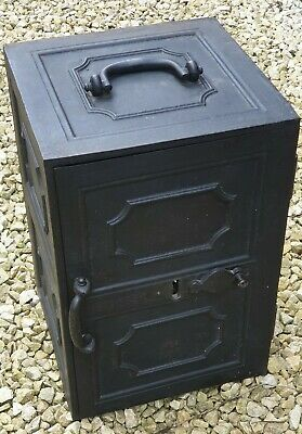 Vintage Antique Carron Cast Iron Safe Box With Key, V-Good Working Condition