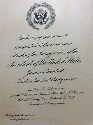 1937 President Franklin D. Roosevelt Inauguration Congressional Invitation FDR +