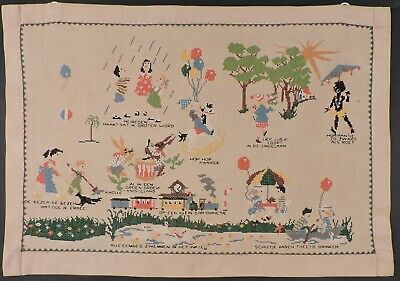Antique Dutch Turn Of C Figural Hand Embroidered Colorful Linen Sampler Cloth