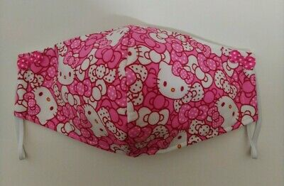 Hello Kitty Handmade Face Mask Adult Size with 3-Layers. Polka Dot Pink Bows