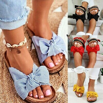 New Ladies Womens Flatflorm Summer Hoilday Fashion Bow Sliders Slides Sandals Sz