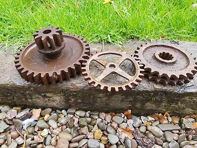 3 Old Cast Iron Cogs Old Farm Machine Cogs steampunk industrial cogs