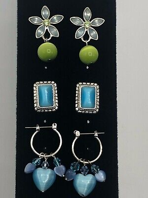 Lot Of 3 Glass Moon Glow / Cat Eye Blue & Green Earrings - Pierced