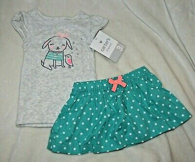 Carters Baby Girl 2 Pc Spring/Summer Clothes Outfit Set Skirt Shirt Dog Bird 0-3