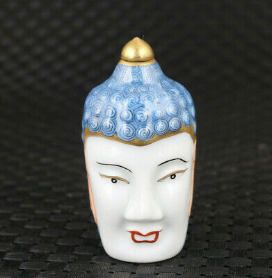 Chinese porcelain hand painting buddha face statue snuff bottle Noble gift