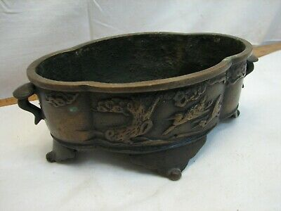 Vintage Japanese Bronze Footed Planter Bird Relief Signed Asian Mark Bowl