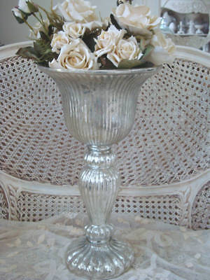 Gorgeous Huge Mercury Glass Vase ***Stunning*****Centerpiece For Table Or Buffet