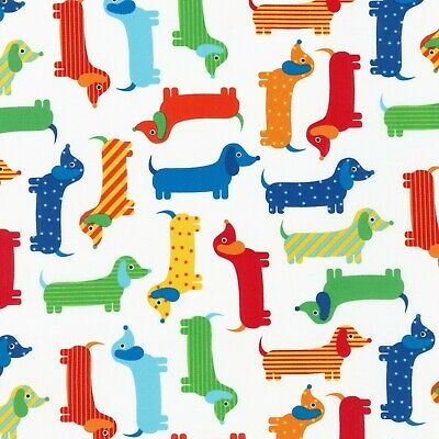 Fabric Dogs Dachshunds Primary on White Kaufman Cotton 1/4 yard 15736204