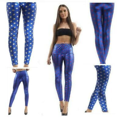 Ladies GIRLS METALLIC Blue With Red Gold Star LEGGINGS American SHINY FOIL