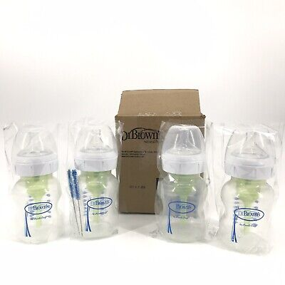 Dr. Brown's Wide Neck Baby Feeding Bottle 5oz 4 Pack  Brand New