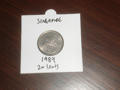 1989 Singapore 20 Cent coin Singaporean twenty cents