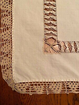 Antique drawn pulled thread lace white linen table topper tan crochet edging