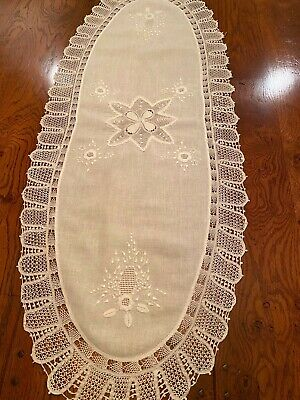 """Delicate white linen runner very fine crochet lace edging 43"""" x 17"""" Embroidery"""