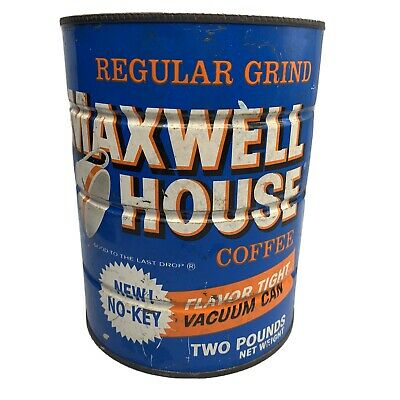 """Vintage Maxwell House Coffee 2 Lb. Tin Can """"New! No Key"""""""