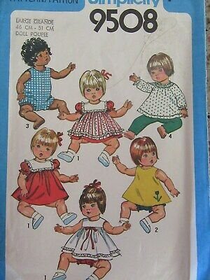 """Simplicity 18""""-20"""" Baby Doll Clothes Patterns"""