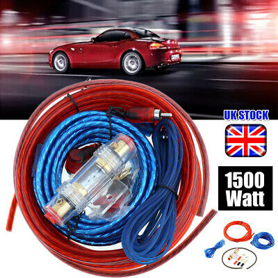1500W 8AWG GAUGE Car Amp Audio Amplifier Cable Subwoofer Wiring Kit Good Quality