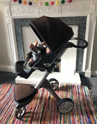 Stokke Xplory Pushchair Stroller Dark Brown  + Carrycot Off White