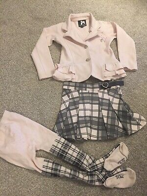 Girls Pink & Grey Tartan Chec Le Chic Outfit Jacket Skirt Tights 104cm