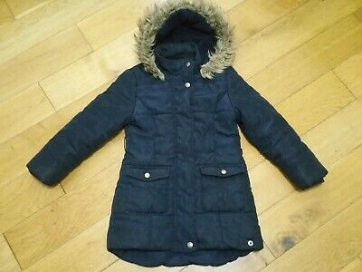Girls Jasper Conran Hooded Coat Lined Padded Navy Blue Size Age 6-7 Years