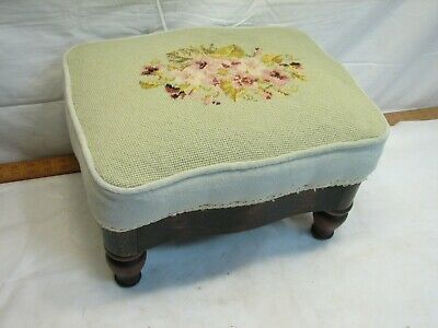 Early Foot Stool Needlepoint Embroidery Cover Footstool Rest Floral
