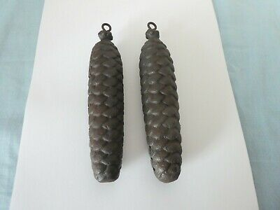 Vintage Pair of Large Heavy Cast Iron Pine Cone Cuckoo Clock Weights 1.396kg