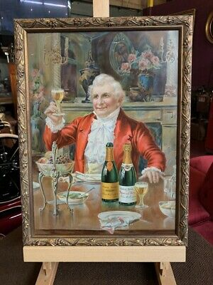 """Early 1900's GOLD SEAL Sparkling Wine Tin Litho Framed  """" Watch Video"""""""