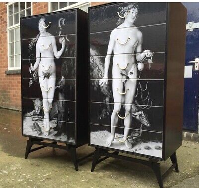 vintage retro chest of drawers Fornasetti Style 1950s 60s Italian Adam & Eve