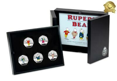 2020 Rupert Bear 50p Silver Proof 5 Coin Set - In Case - Only 2,495 sets