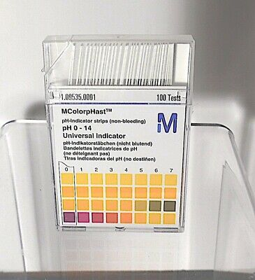 MColorpHast pH test strip box of 100 0-14 range