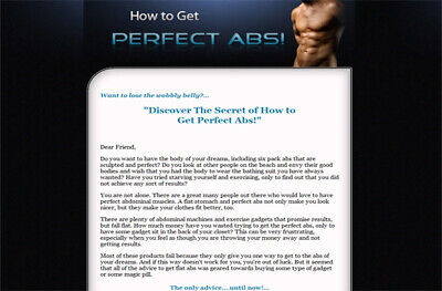 How To Get Perfect Abs - PDF Ebook with master resell rights FAST SHIPPING