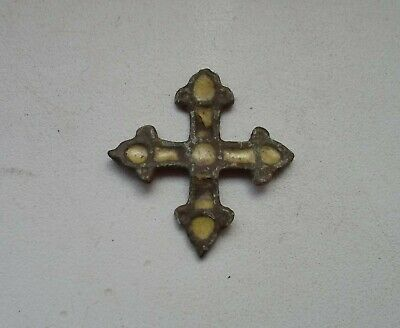 Ancient Bronze Cross Pendant with Enamel. Kievan Rus.