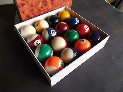 "Spots - Stripes  1""7/8 Pool Ball Set  Boxed New ."