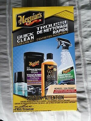 Meguiar's Quick Clean Car Care Kit Gift Pack Wash Detail Wipe Air Refresher New