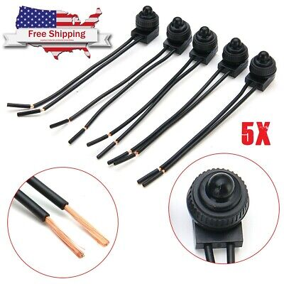 """5Pcs  Waterproof Push-Button Latching On-Off Switch with 4"""" Leads"""