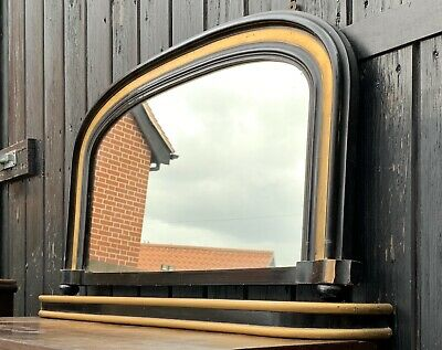 Victorian Ebonised Over Mantle Mirror & Mantle Shelf