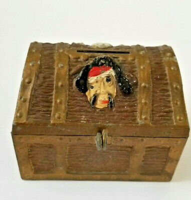 Vintage Pirate's Chest Bank With Lock and Key