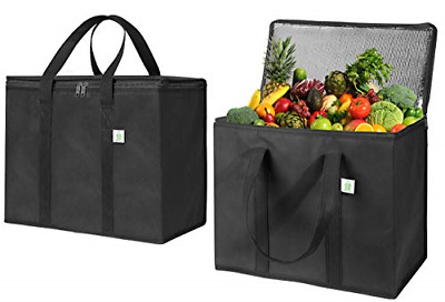 2 Pk Insulated Reusable Grocery Bag Durable Heavy Duty Large Size Stands Upright
