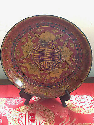 """Antique/Vintage Chinese Red Lacquer Bat Motif Wooden Red/Gold Plate 12"""" Signed"""