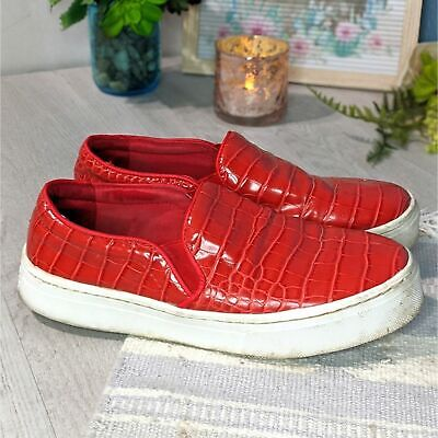 Sam Edelman Lacey Red Croc Slip On Sneakers Size 7.5