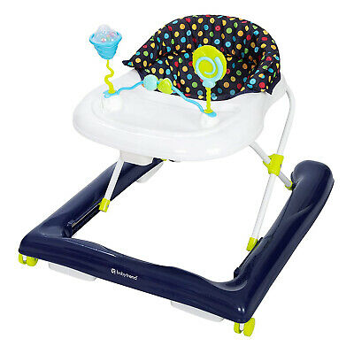 Baby Walker Toddler Adjustable Height Large Surround Tray Durable with Toy Bar