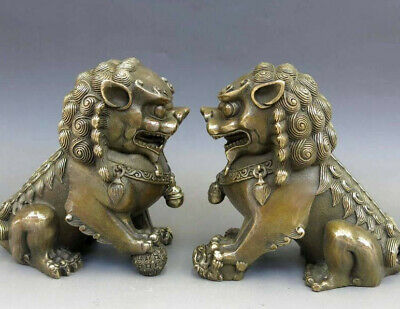 Asian Chinese Brass Animal Feng shui Foo Dog Lion town house bronze Statue pair